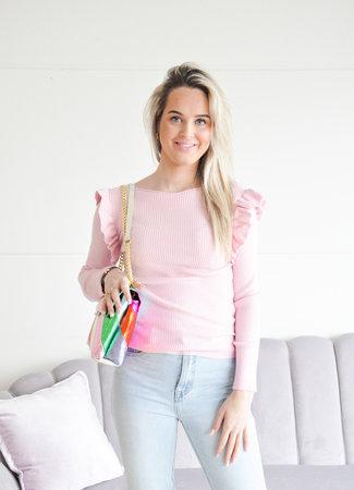 Lieke pink ruffle knit