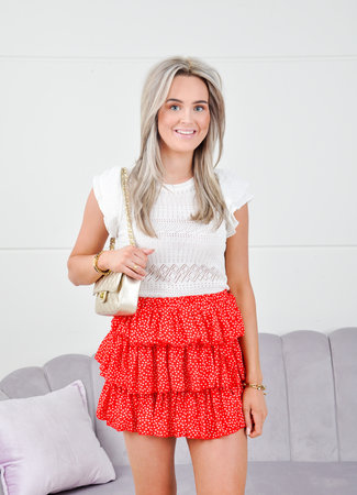 Hearts skirt red
