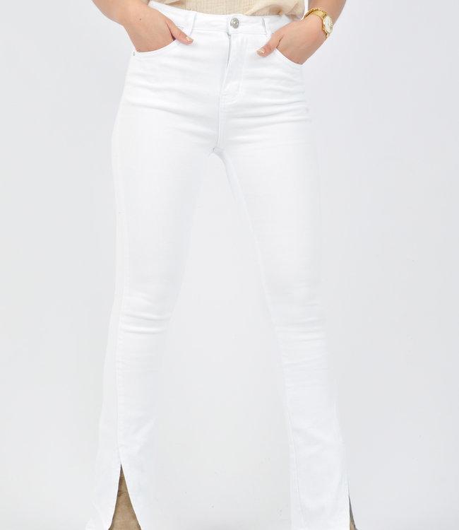 Elise split jeans white