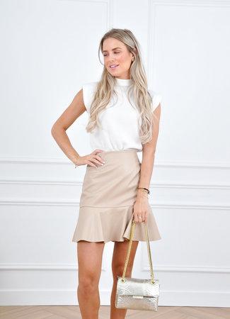 Hailey leather skirt beige