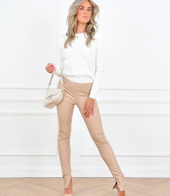 Bo leather pants beige