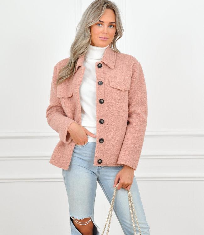 Maxime teddy jacket pink