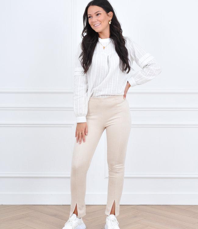 Suede beige pants