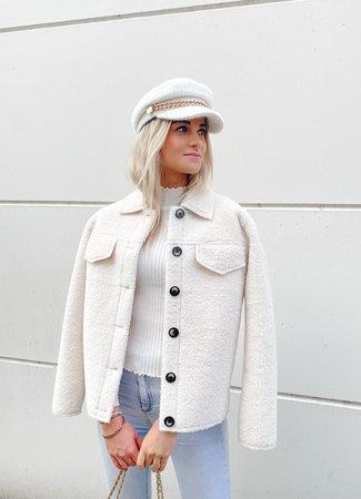 Maxime teddy jacket white