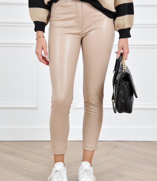 Feline leather pants beige