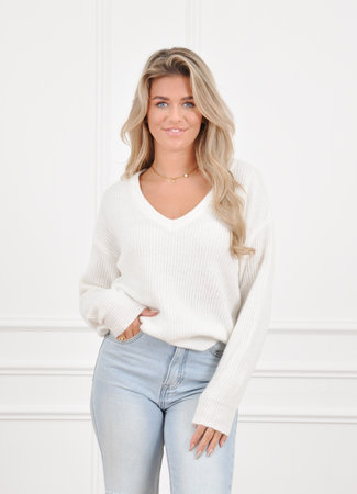 Loes knit white