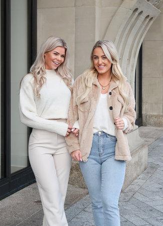 Fur coat beige