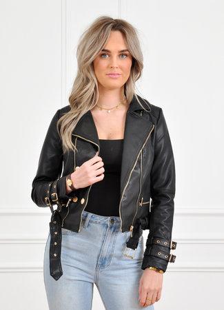 Ibo leather jacket black