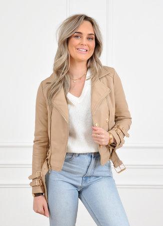 Ibo leather jacket beige