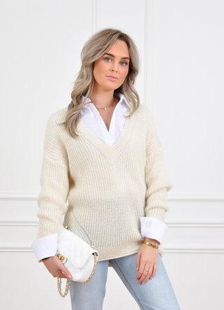 Cleo glitter knit white