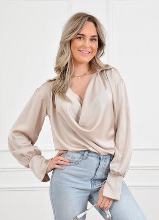 Els satin blouse beige