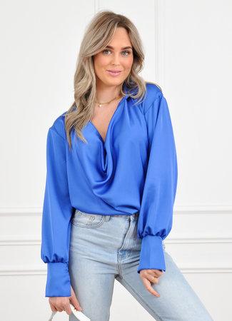 Els satin blouse kobalt