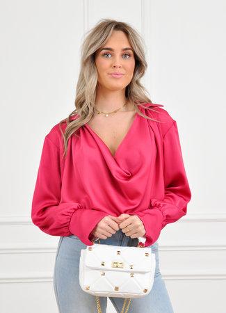 Els satin blouse pink