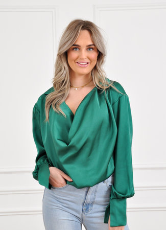 Els satin blouse green