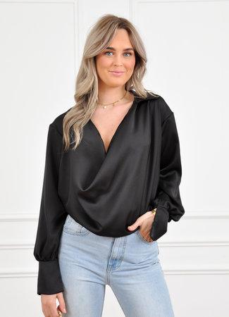 Els satin blouse black