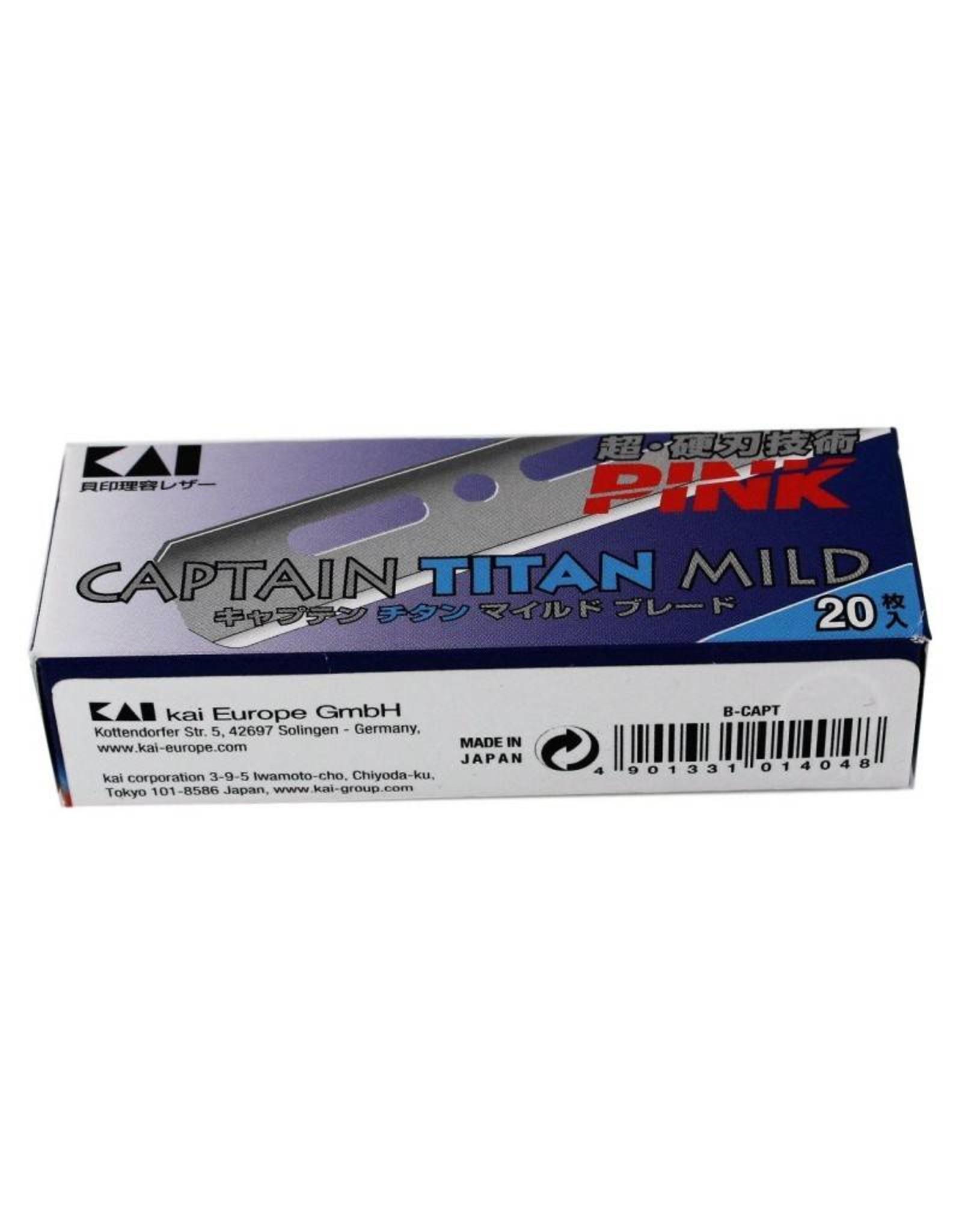 Kasho Made in Japan  5 x 20 Stk Kai Captain Titan Mild Pink Razor Blades