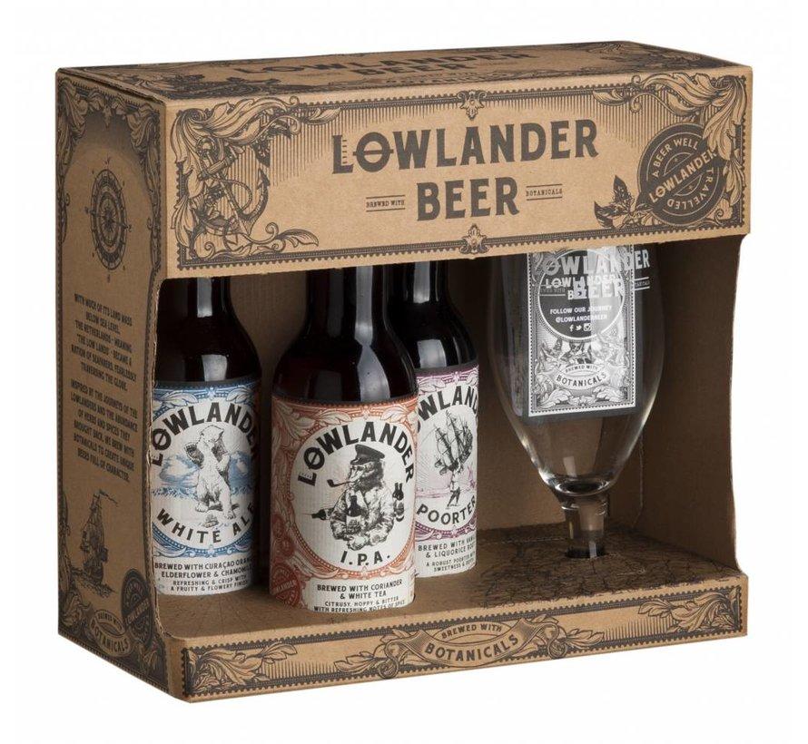 Lowlander Cadeau Met 3 Fles + Glas