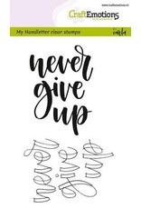 Craft Emotions CraftEmotions clearstamps A6 -  handletter - never give up (Eng)