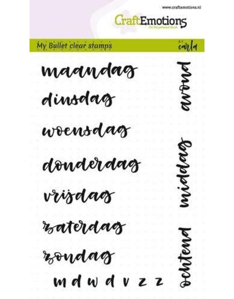 Craft Emotions CraftEmotions clearstamps A6 - Bullet Journal - dagen 10mm (NL)