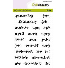 Craft Emotions CraftEmotions clearstamps A6 - Bullet Journal - maanden 10mm (Eng)