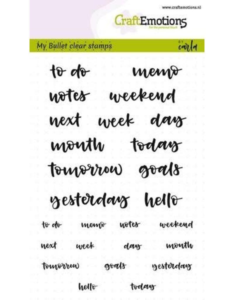 Craft Emotions CraftEmotions clearstamps A6 - Bullet Journal - tekst agenda 5-10mm (Eng)
