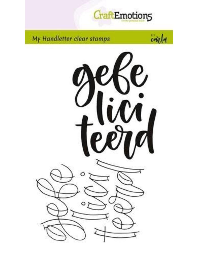 Craft Emotions CraftEmotions clearstamps A6 - handletter - gefeliciteerd (NL)