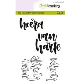 Craft Emotions CraftEmotions clearstamps A6 - handletter - hoera van harte (NL)