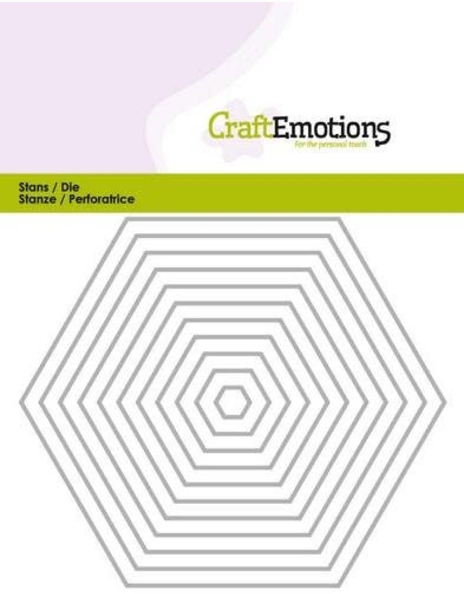 Craft Emotions CraftEmotions Die - randen recht Hexagon