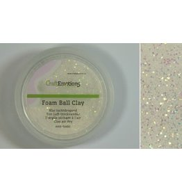 Craft Emotions CraftEmotions Foamball clay - luchtdrogende klei - wit glitter 15gr