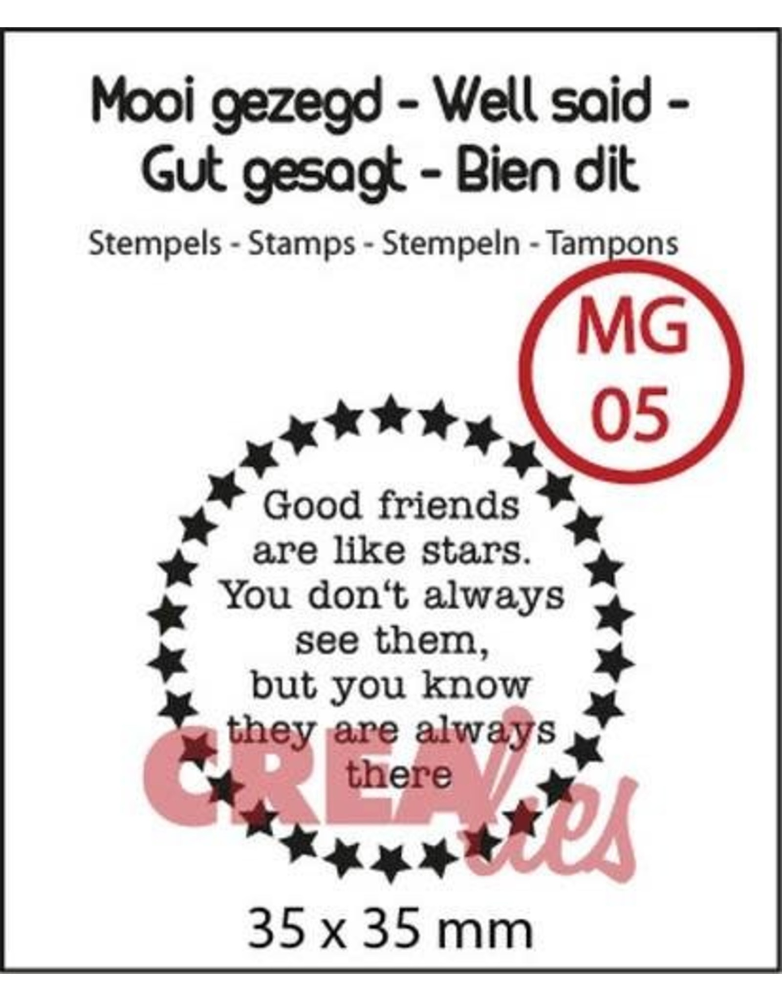 Crealies Crealies Clearstamp Mooi gezegd (UK) no. 5 stars