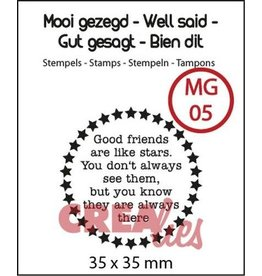 Crealies Crea-nest-dies Crealies Clearstamp Mooi gezegd (UK) no. 5 stars
