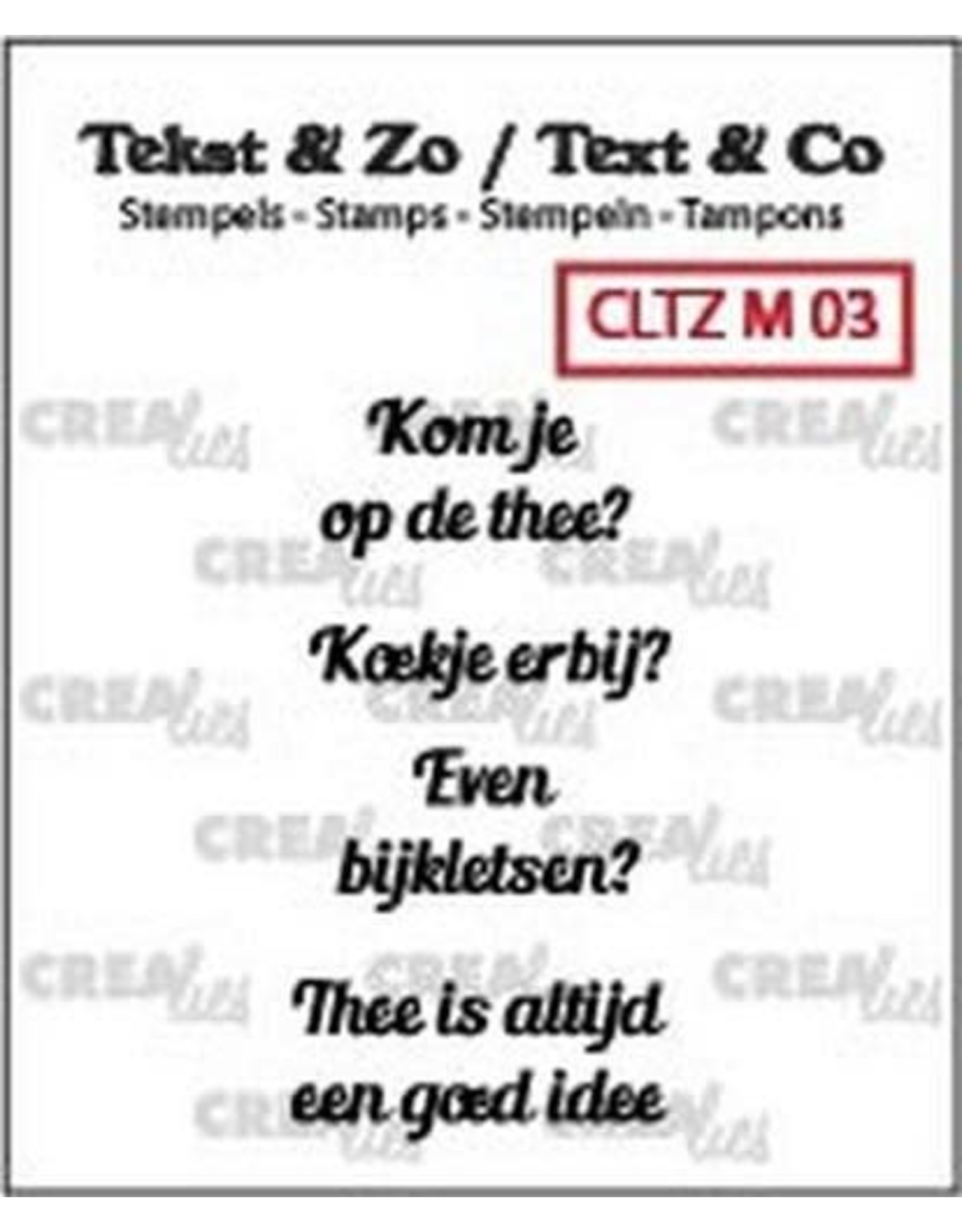 Crealies Crealies Clearstamp Tekst & Zo Mini tekst thee B (NL)