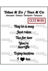 Crealies Crea-nest-dies Crealies Clearstamp Tekst & Zo Tiny text tea B (ENG)