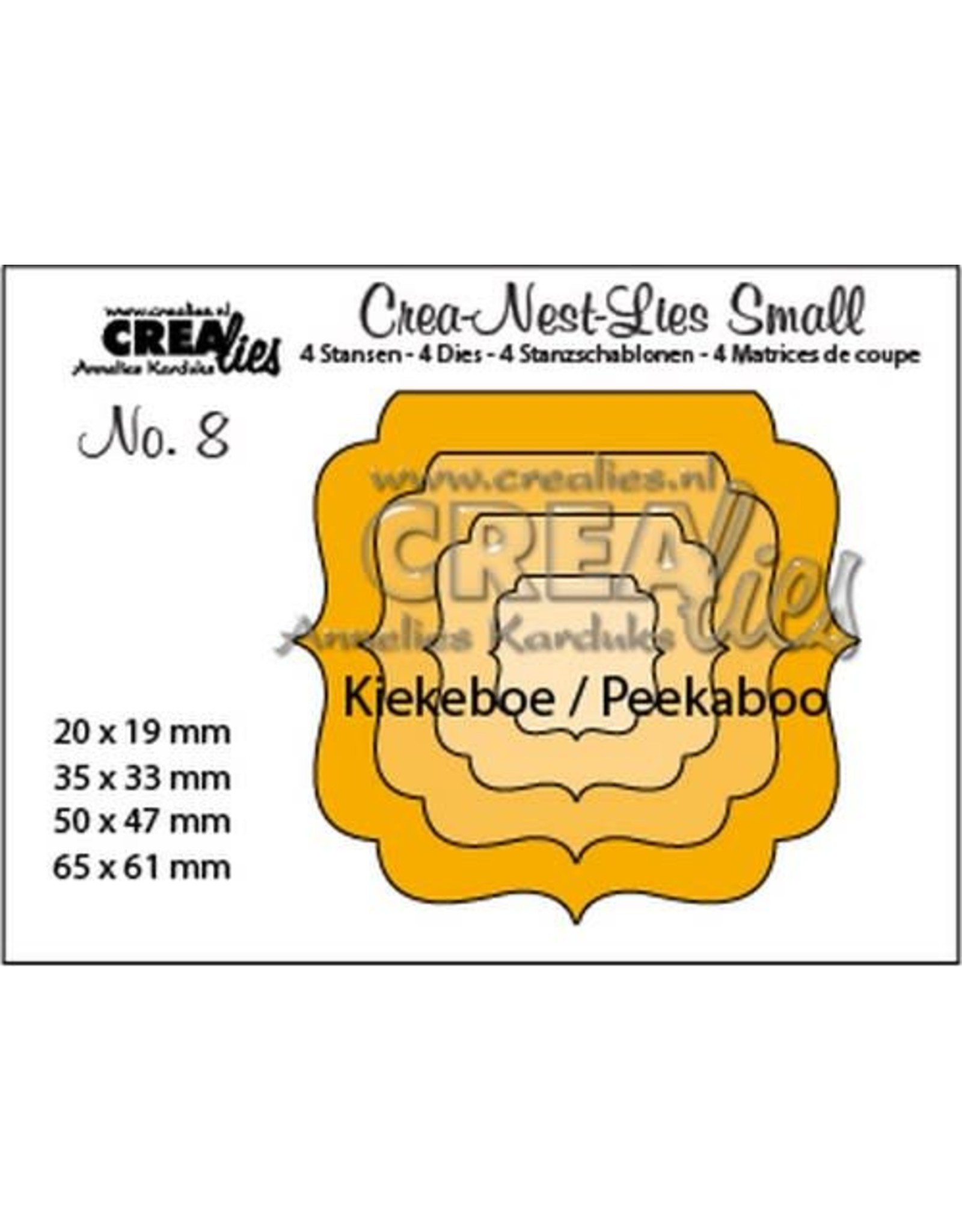Crealies Crealies Crea-nest-dies small no. 8 Kiekeboe ornament vierkan