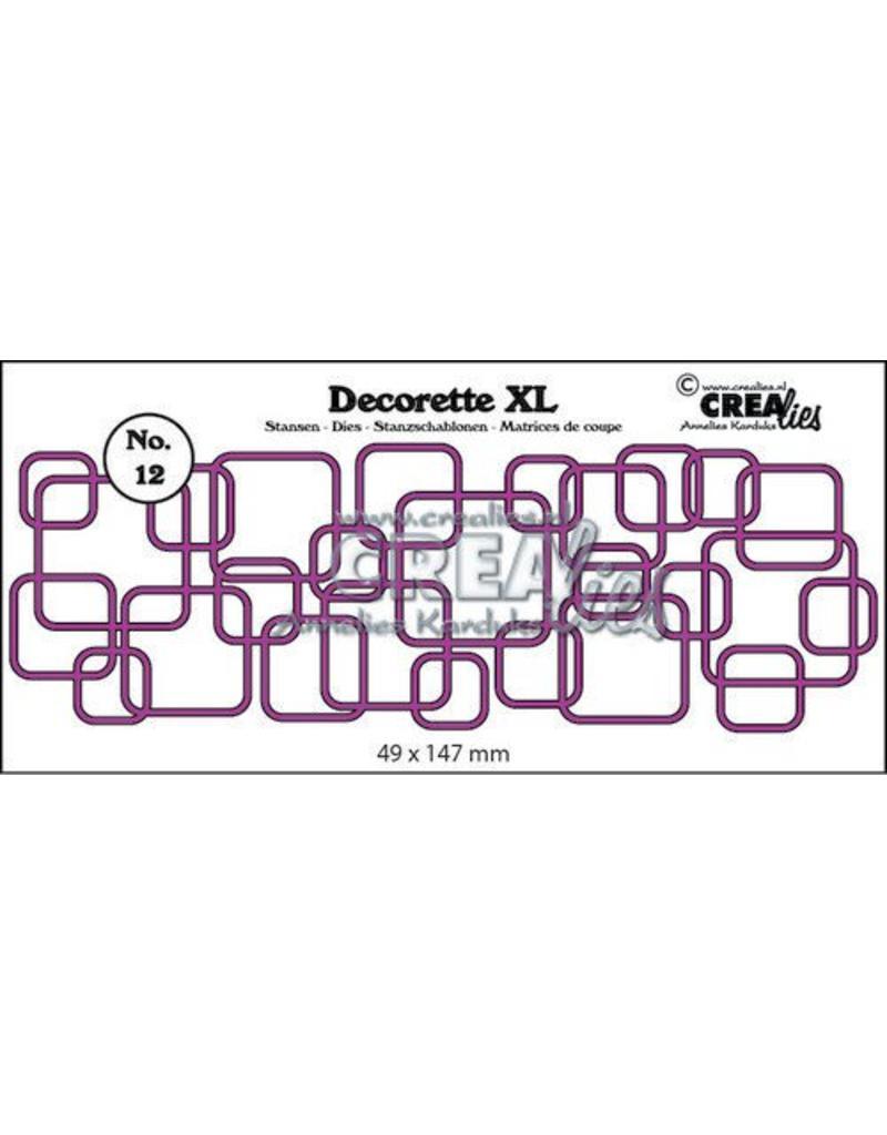 Crealies Crea-nest-dies Crealies Decorette XL no. 12 in elkaar grijpende vierkanten