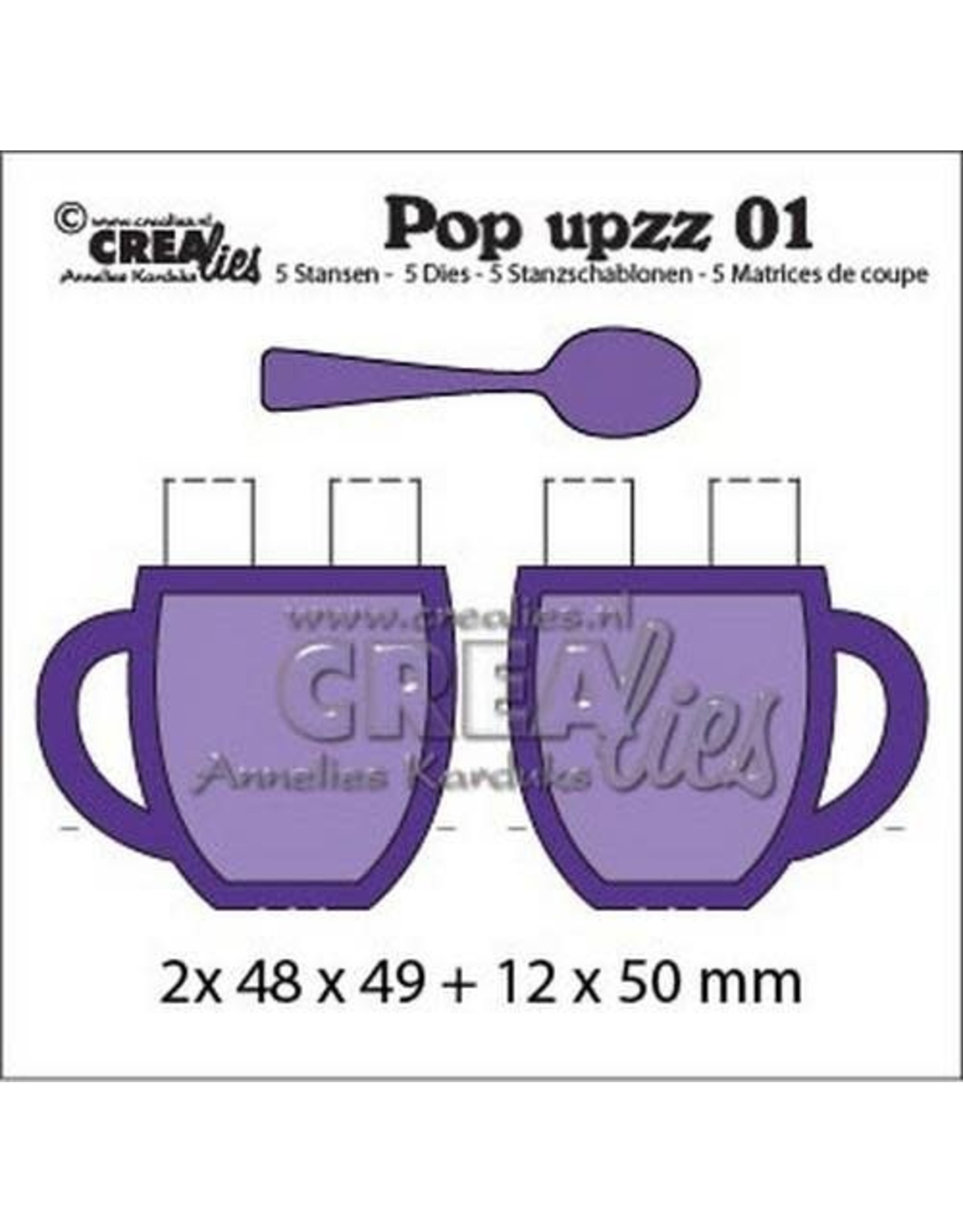 Crealies Crealies Pop upzz 2x pop up mok + lepel