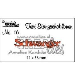 Crealies Crealies Tekststans (DE) nr 16 Schwanger