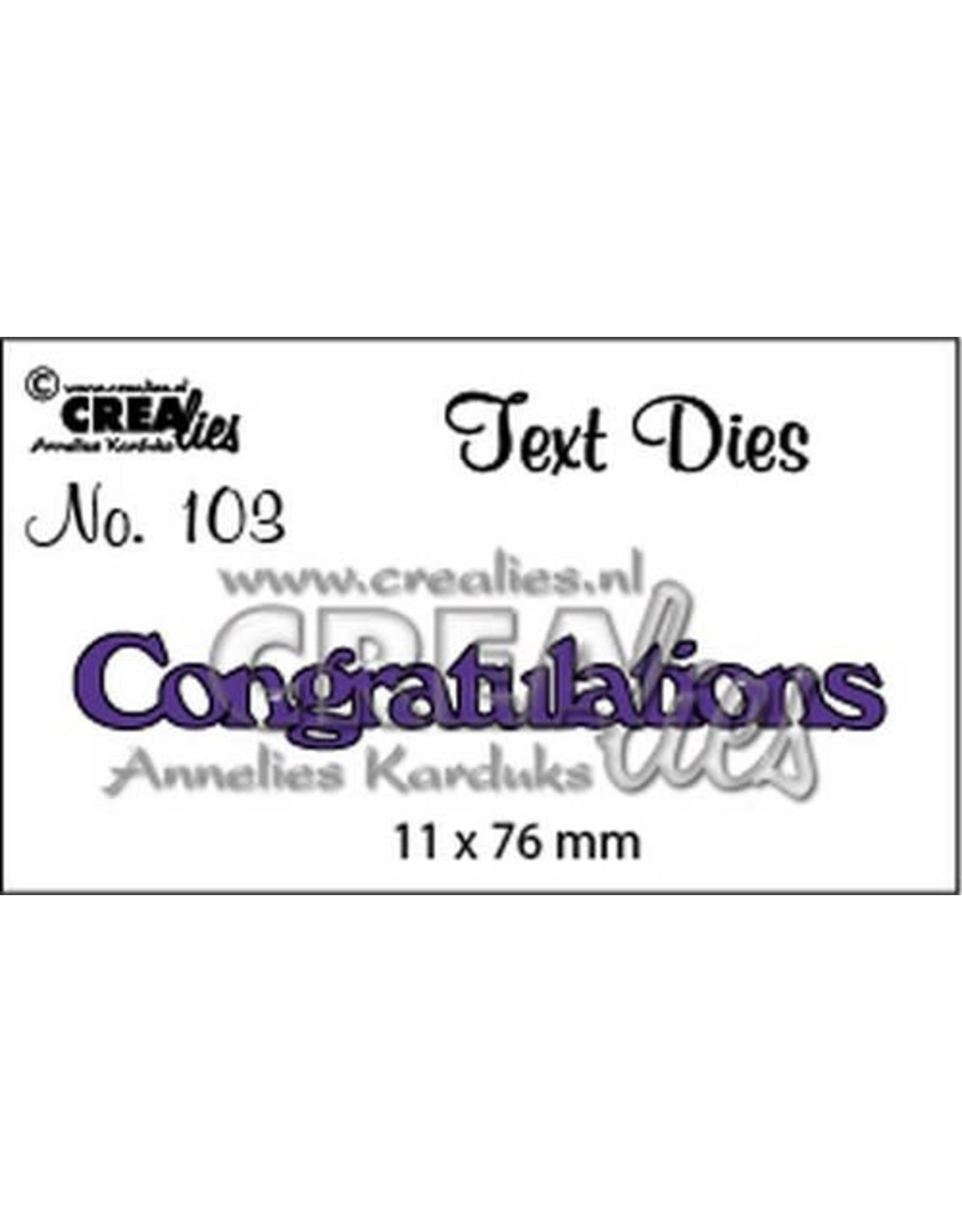 Crealies Crealies tekststans (Eng) Congratulations