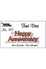 Crealies Crealies tekststans (Eng) nr. 107  Happy Anniversary