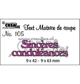 Crealies Crealies Tekststans (FR) Sinceres condoleances