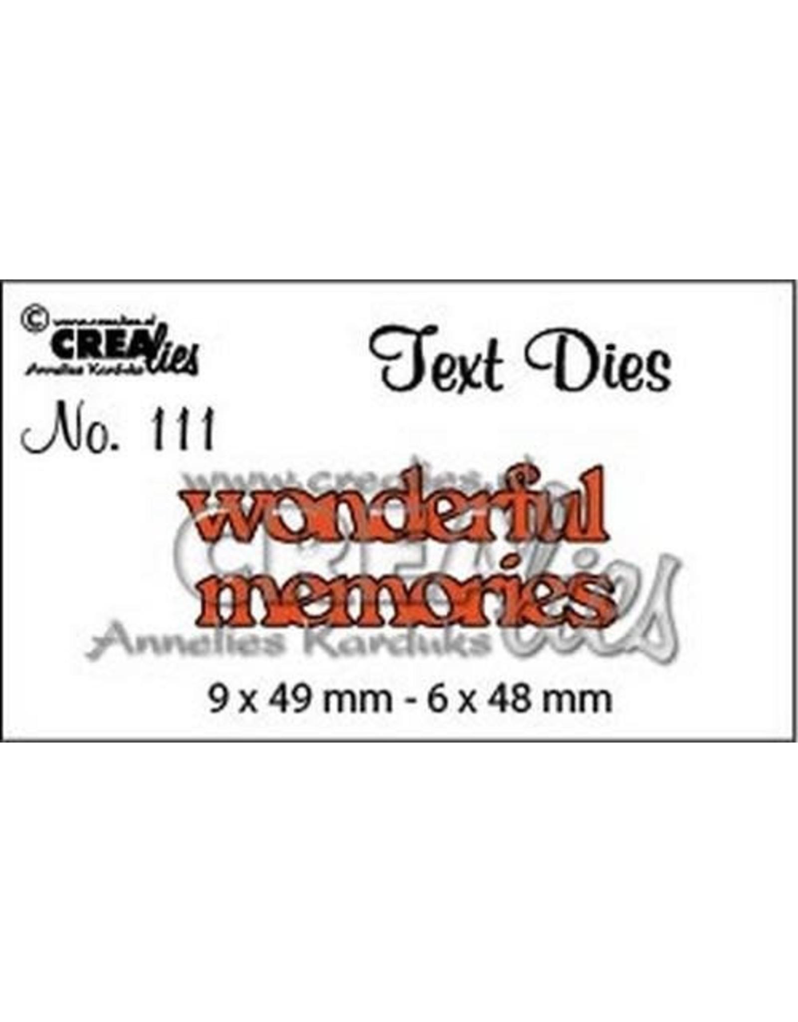 Crealies Crealiestekststans (Eng) nr. 111 wonderful memories
