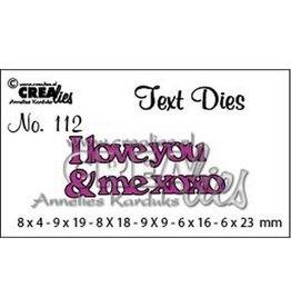Crealies Crealiestekststans (Eng) nr. 112 I love you & me xoxo