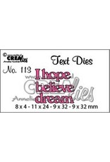 Crealies Crea-nest-dies Crealiestekststans (Eng) nr. 113 I hope. believe. dream