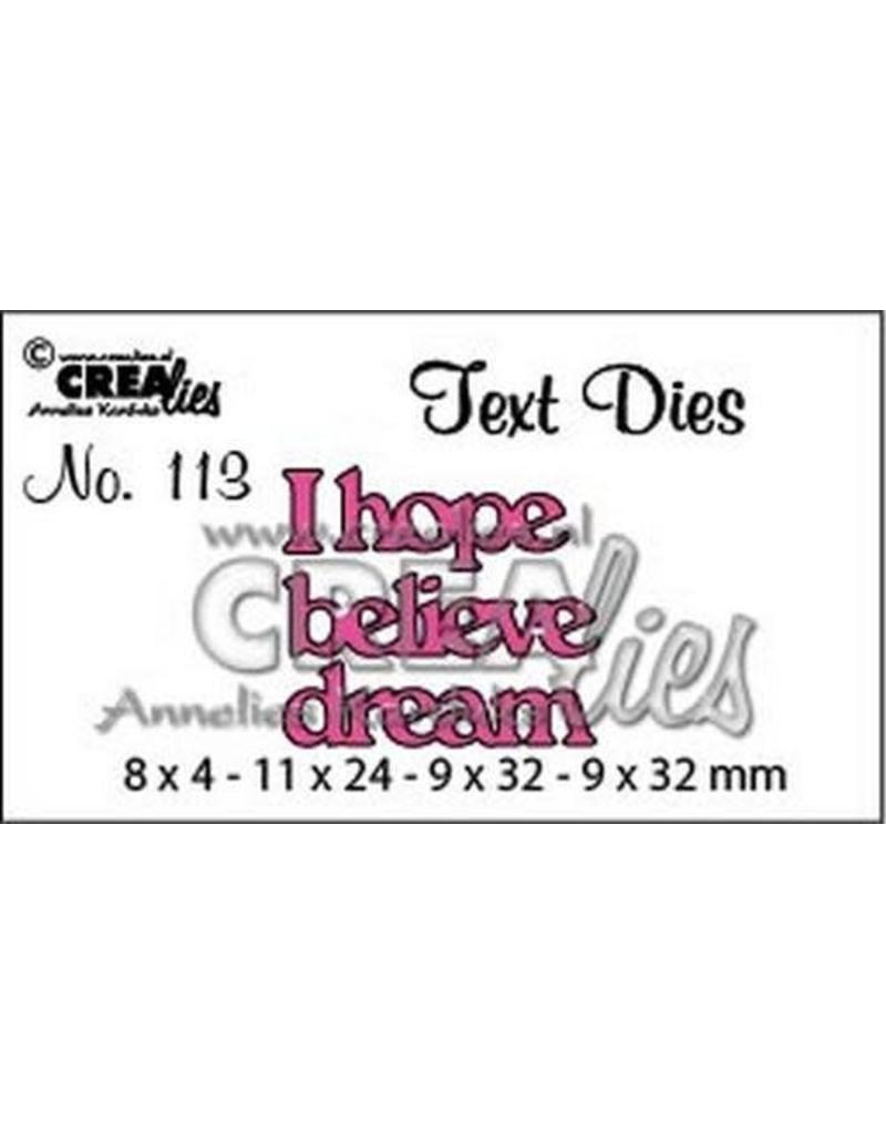 Crealies Crealiestekststans (Eng) nr. 113 I hope. believe. dream