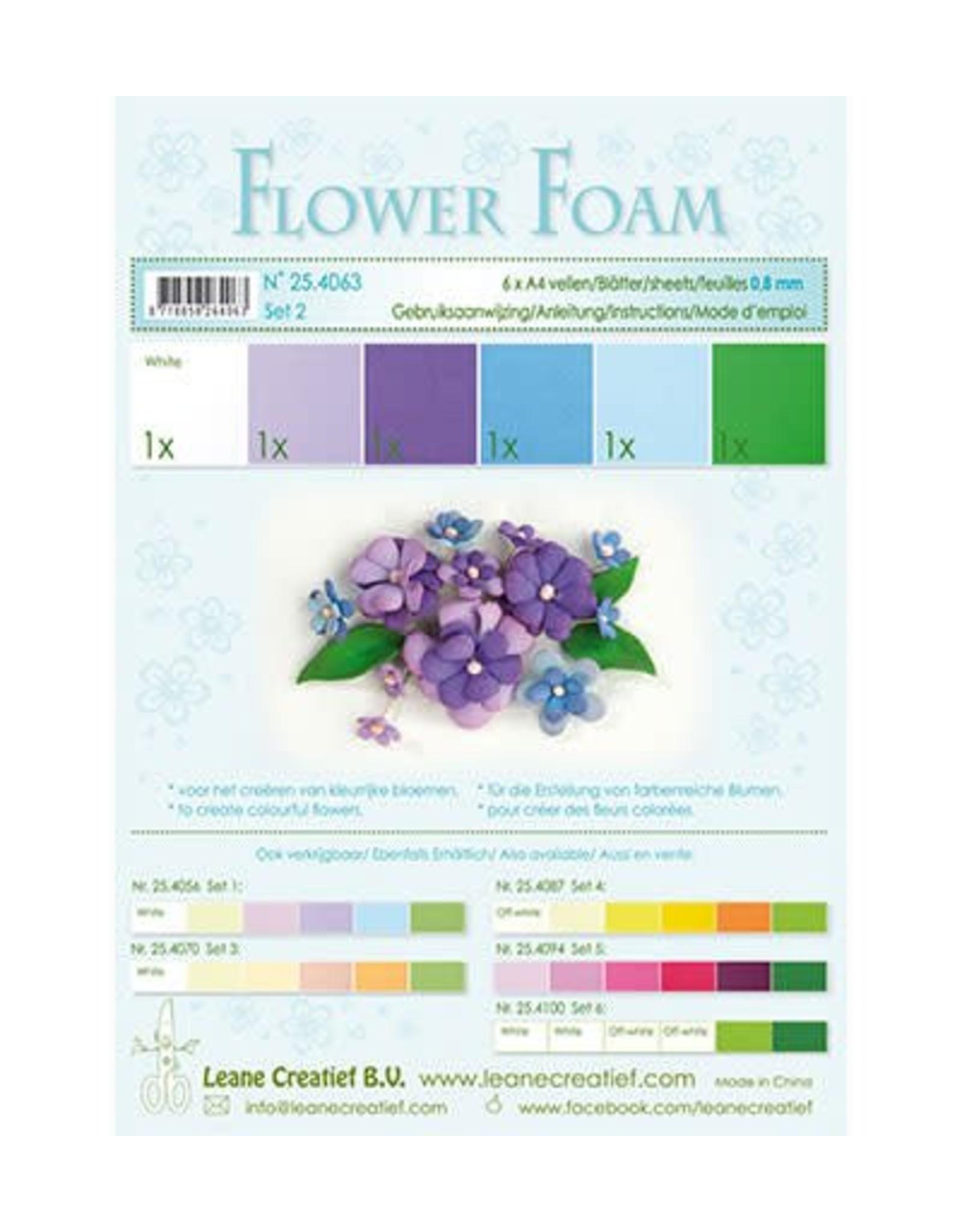 LeCrea -Foam LeCrea - Flower Foam assort. 2. 6 vel A4 blauw. paars