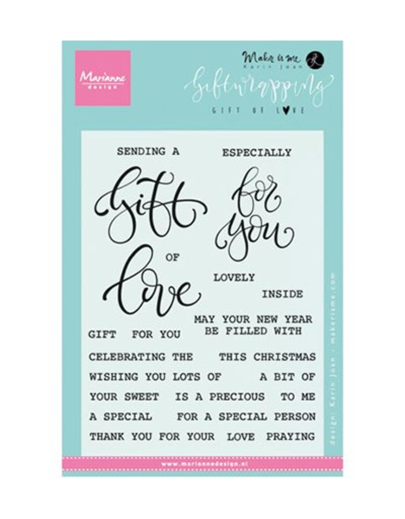 Marianne Design Marianne D Stempel Giftwrapping Gift of love KJ1718