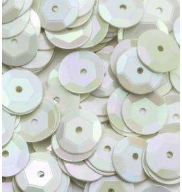 Pailletten facon AB kleur wit 6 mm 10 GR