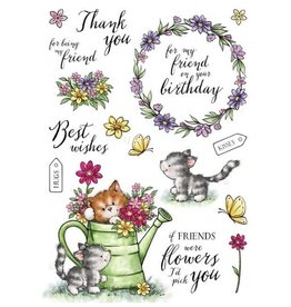Wild Rose Clear Stamps Wild Rose Studio`s A5 stamp set Cats in the Garden AS008