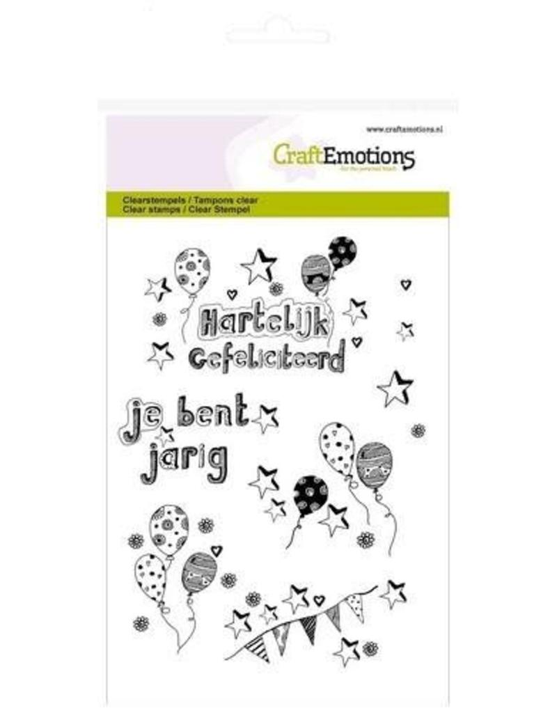 CraftEmotions clearstamps A6 - jarig ballonnen handlettering (NL)