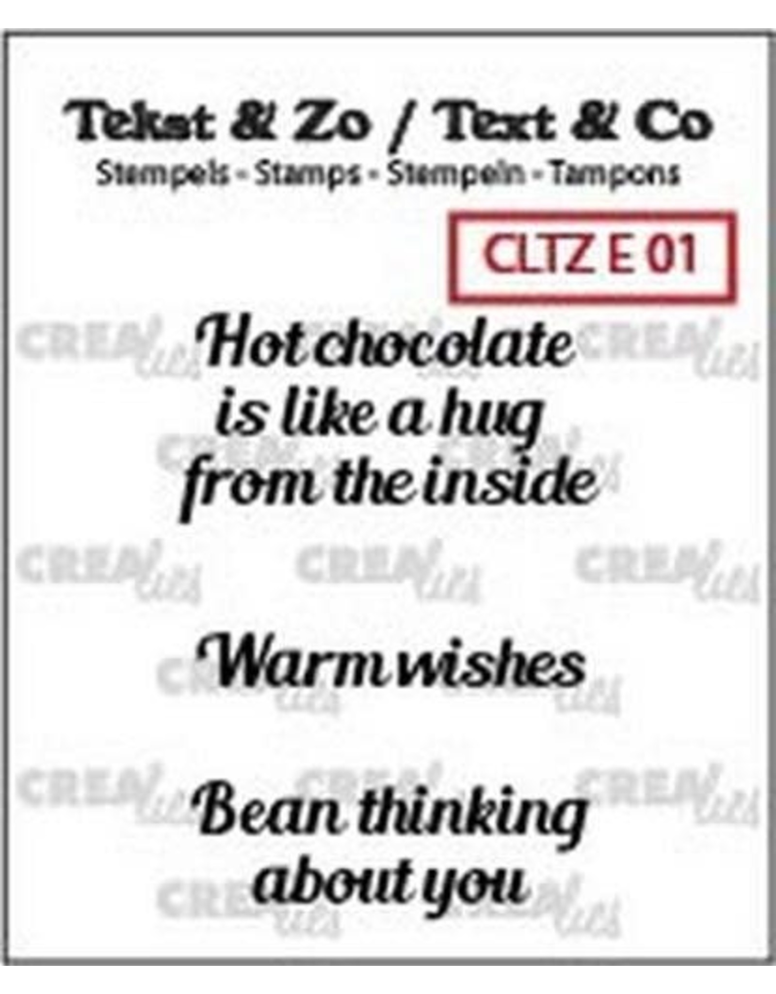 Crealies Clearstamp Tekst & Zo hot chocolate, warm wish(ENG) CLTZE01